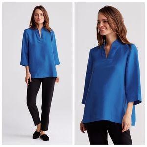 NWT Eileen Fisher Dupioni Silk Blouse High Neck S